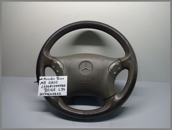 Mercedes Benz MB W203 C-Class steering wheel leather leather BEIGE 2034600903 L34