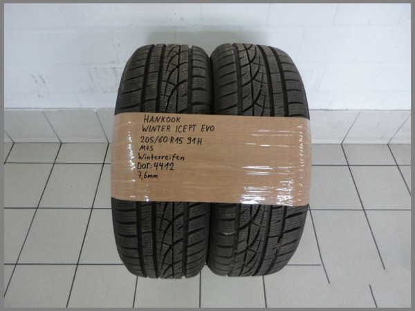 2x Hankook 205 60 R15 91H Winter ICE - PT EVO DOT4412 7,3mm Winterreifen